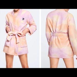 Victoria's Secret Pink plush bathrobe in tie dye